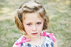 Sad Girl Halftone. A sad girl with halftone treatment added. 7 years old Stock Photos