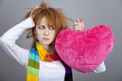 Sad girl with heart. St. Valentine Day Royalty Free Stock Photos