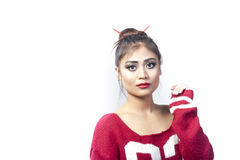 Sad girl. Indian girl in sad mood. White beckground Stock Photo
