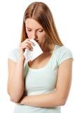 Sad girl isolated on white background. Stock Images