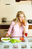Sad girl keeping a diet Royalty Free Stock Image