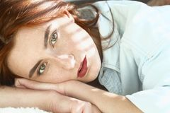 Girl in sun light royalty free stock image