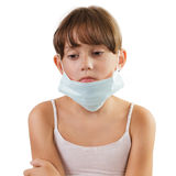 Sad girl in a medical mask Stock Photos