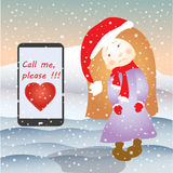 Sad girl and mobile phone SMS or email, under the snow Stock Photo