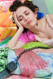 Sad girl with phone Royalty Free Stock Image