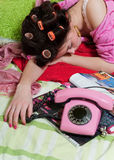 Sad girl with phone Stock Photography