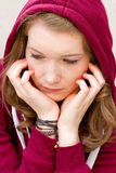 Sad girl. Portrait of a depressive teenager stock images