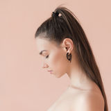 Sad girl in profile. Royalty Free Stock Image