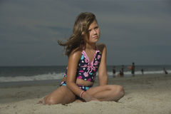 Sad Girl Sitting On Beach Royalty Free Stock Image