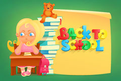 Sad girl sitting at table. Back to school concept Royalty Free Stock Images