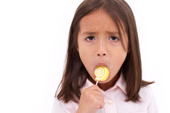 Sad girl with sugar jelly Royalty Free Stock Images