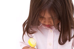 Sad girl with sugar jelly Royalty Free Stock Photography
