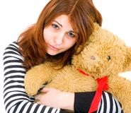 Sad girl with toy Stock Photography