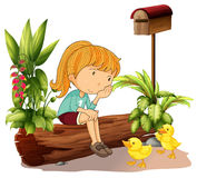 A sad girl and the two ducklings. Illustration of a sad girl and the two ducklings on a white background Royalty Free Stock Photos