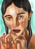 Sad girl under vrdoy royalty free illustration