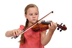 Sad girl with a violin Stock Photos