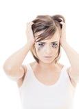Sad girl on white background Royalty Free Stock Photos