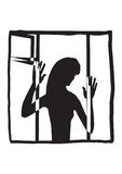 Silhouette of a woman in the window Royalty Free Stock Photography