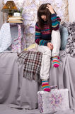 Sad girl winter clothes Stock Image