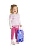Sad Girl With Shopping Bag Stock Photo