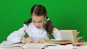 Sad girl writing, reeding. Child doing homework stock footage