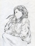 Sad girl. Young girl thinking of something sad while laying in the bed. Hand drawn pencil sketch royalty free illustration