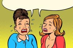 Sad girlfriends women cry. Comic book cartoon pop art retro vector illustration drawing Royalty Free Stock Image