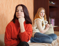Sad girls having quarrel Stock Photos