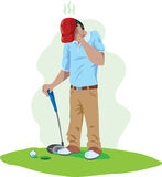 Sad golfer Stock Image