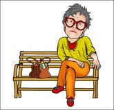 Sad Grandma Cartoon vector. Sad Grandma Cartoon Sitting on the Bench vector available in eps suitable for sticker, t-shirt, mug, magazine, website, etc Royalty Free Stock Photo