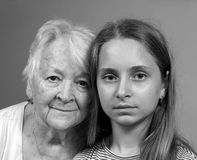 Sad grandmother and granddaughte Royalty Free Stock Photography