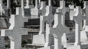 Sad graveyard. The catholic graveyard in Thailand Royalty Free Stock Photography