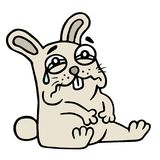 Sad gray rabbit is cries. Vector illustration. royalty free stock photography