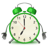 Sad green alarm clock character Royalty Free Stock Photos