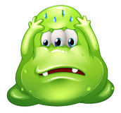 A sad greenslime monster. Illustration of a sad greenslime monster on a white background Royalty Free Stock Photography
