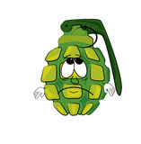 Sad grenade cartoon Royalty Free Stock Photography