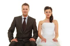 Sad groom and bride couple waiting for wedding Royalty Free Stock Photo