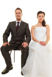 Sad groom and bride couple waiting for wedding Stock Image