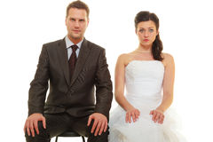 Sad groom and bride couple waiting for wedding Royalty Free Stock Image