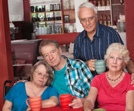 Sad Group of Senior Friends stock image