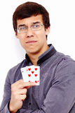 Sad guy with bad playing cards Royalty Free Stock Photography