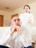 Sad guy and woman during conflict Stock Photography