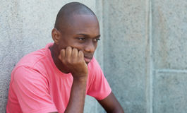 Sad and hairless african american man Stock Photos