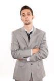 Sad handsome young caucasian businessman. Handsome young caucasian businessman sad and tired Stock Photo