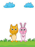 Sad and happy cat rabbit Stock Images