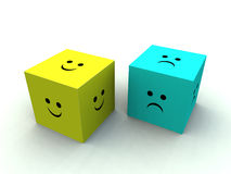 Sad And Happy Cube Royalty Free Stock Photo