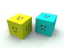 Sad And Happy Cube. A very sad and very happy cubes Royalty Free Stock Photo