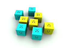 Sad And Happy Cube 7. A set of very sad and very happy cubes Royalty Free Stock Photography