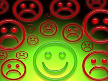 Sad and happy faces. An artistic illustration of red sad faces or frowns and one green happy or smiling face Royalty Free Stock Photo