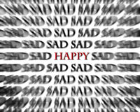 Sad and Happy Words in Black and Red Opposites Stock Images